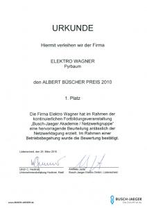 Elektro Wagner | Urkunde Albert Büscher Preis
